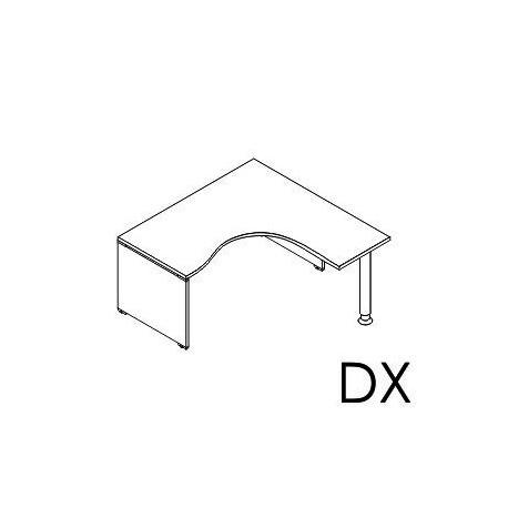 Scrivania angolare Dx - Sx gamba in legno e gamba cilindrica