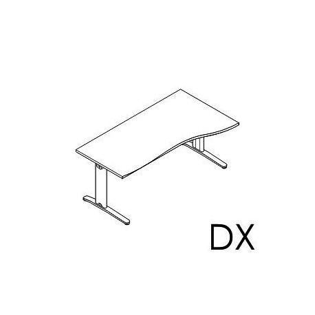Scrivania sagomata Dx - Sx gamba in metallo fissa