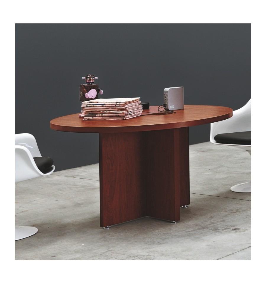tavolo riunione rotondo con gamba in legno offixstore
