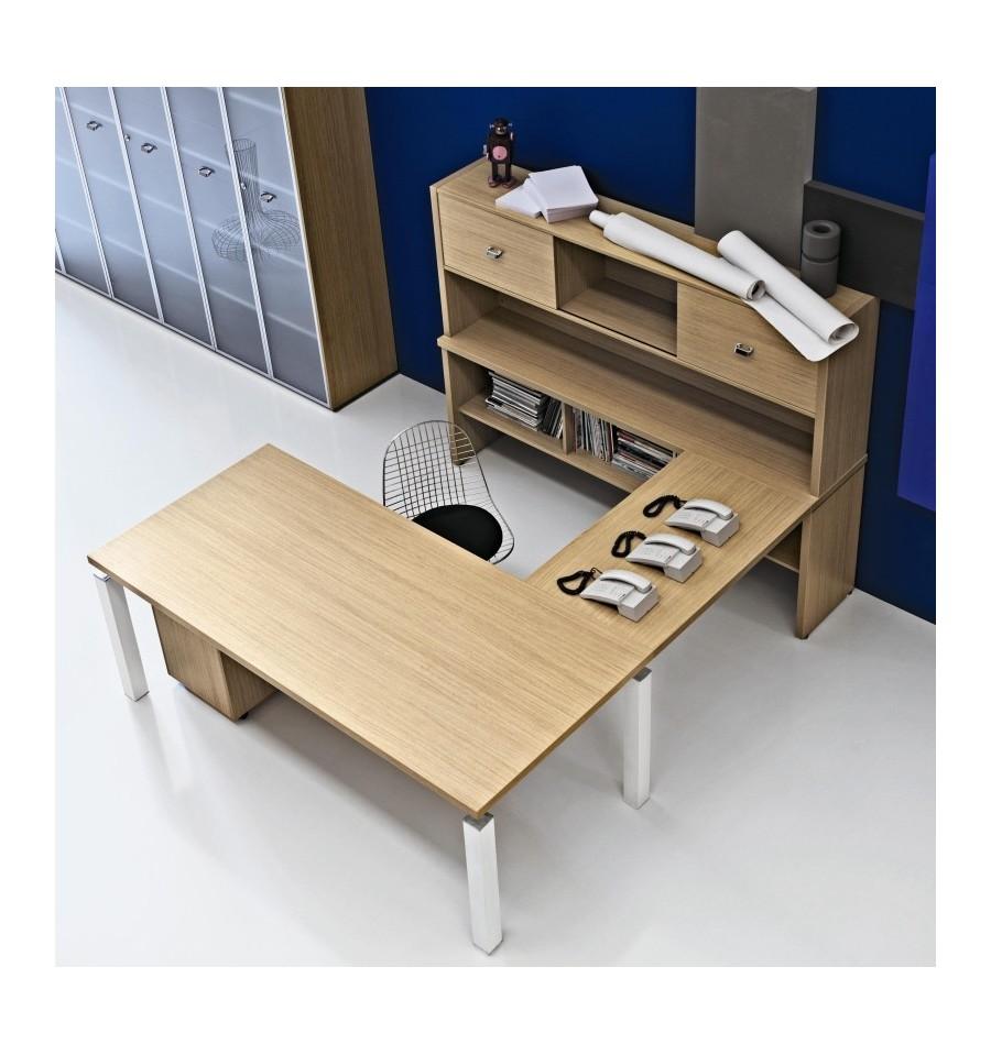 scrivania con allungo e consolle alta posteriore offixstore