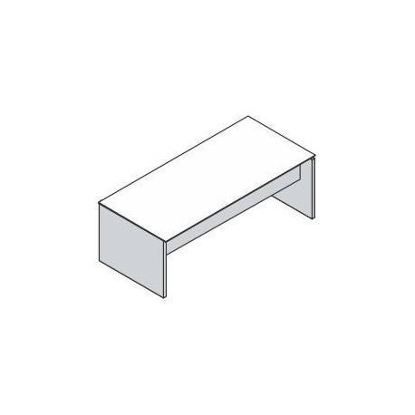Scrivania rettangolare con basamento in legno