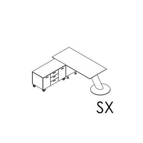 Scrivania con piano in laminato o in vetro con gambone cilindrico e mobile di servizio portante Dx / Sx